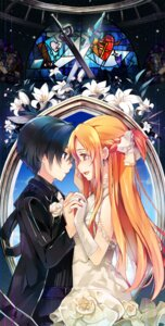 Rating: Safe Score: 33 Tags: asuna_(sword_art_online) dress kirito sheska_xue sword_art_online wedding_dress User: fairyren