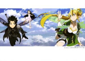 Rating: Safe Score: 33 Tags: adachi_shingo alfheim_online cleavage dress kirito leafa pointy_ears sword sword_art_online thighhighs wings yui_(sword_art_online) User: drop