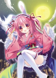 Rating: Safe Score: 40 Tags: animal_ears aono_ribbon bunny_ears tagme tail thighhighs yukata User: Twinsenzw