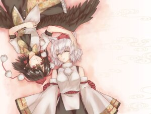 Rating: Safe Score: 18 Tags: animal_ears caesar_et_cleopatra inubashiri_momiji shameimaru_aya touhou wallpaper wings User: Nekotsúh