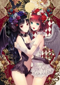 Rating: Safe Score: 169 Tags: cleavage horns leotard no_bra symmetrical_docking terai_(teraimorimori) wings User: Mr_GT