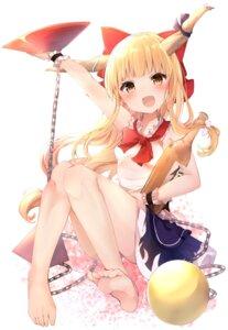 Rating: Questionable Score: 27 Tags: feet horns ibuki_suika karasusou_nano loli sake skirt_lift touhou User: hiroimo2