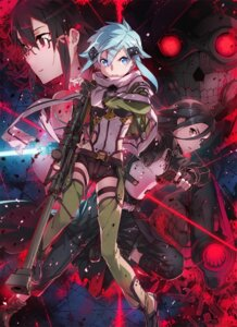 Rating: Safe Score: 95 Tags: abec death_gun gun gun_gale_online kirito megane shino_asada sinon sword sword_art_online User: 传说の自由