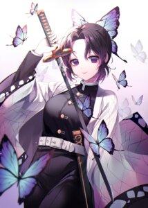 Rating: Safe Score: 17 Tags: artist_revision japanese_clothes kimetsu_no_yaiba kochou_shinobu naru_0 sword uniform User: BattlequeenYume