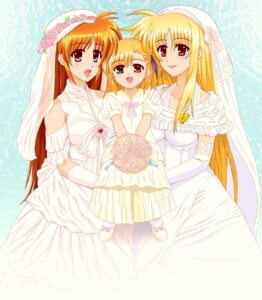 Rating: Safe Score: 6 Tags: dress fate_testarossa heterochromia mahou_shoujo_lyrical_nanoha mahou_shoujo_lyrical_nanoha_strikers takamachi_nanoha vivio wedding_dress User: Radioactive