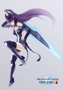 Rating: Safe Score: 22 Tags: bodysuit cleavage heels minus_ion phantasy_star_online_2 sword thighhighs User: Zenex
