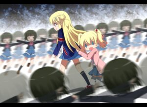 Rating: Safe Score: 35 Tags: alice_cartelet haribote kin'iro_mosaic kujou_karen oomiya_shinobu seifuku thighhighs User: Radioactive