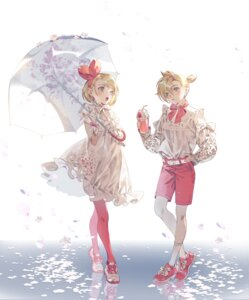 Rating: Safe Score: 15 Tags: dress fajyobore323 kagamine_len kagamine_rin pantyhose see_through umbrella vocaloid User: Dreista