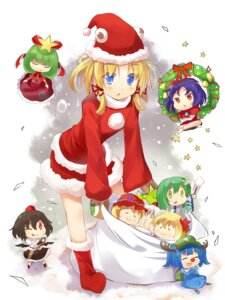 Rating: Safe Score: 13 Tags: chibi christmas efe inubashiri_momiji kawashiro_nitori kochiya_sanae moriya_suwako shameimaru_aya touhou User: fairyren