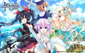 Rating: Safe Score: 39 Tags: armor blanc choujigen_game_neptune cleavage neptune noire stockings sword thighhighs tsunako vert wallpaper weapon User: Nepcoheart