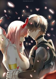 Rating: Safe Score: 12 Tags: bodysuit darling_in_the_franxx genm7 hiro_(darling_in_the_franxx) horns zero_two_(darling_in_the_franxx) User: 김도엽