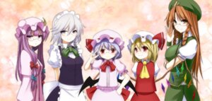 Rating: Safe Score: 9 Tags: chulain flandre_scarlet hong_meiling izayoi_sakuya maid megane patchouli_knowledge remilia_scarlet touhou wings User: Radioactive