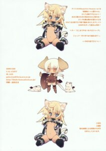 Rating: Questionable Score: 23 Tags: animal_ears blade breasts chibi horns nekomimi nipples tail thighhighs User: petopeto