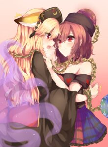 Rating: Safe Score: 54 Tags: animal_ears hecatia_lapislazuli junko kaenuco symmetrical_docking tail touhou yuri User: Mr_GT