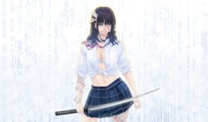 Rating: Safe Score: 16 Tags: bra eyepatch hamada_youho open_shirt seifuku sword User: Nazzrie