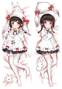 Rating: Questionable Score: 37 Tags: animal_ears bloomers breast_hold bunny_ears dakimakura dress girls_frontline m99_(girls_frontline) nan_zhi_qing_han thighhighs User: sym455