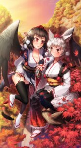 Rating: Safe Score: 15 Tags: animal_ears cleavage inubashiri_momiji japanese_clothes muchousha pantsu shameimaru_aya skirt_lift tail thighhighs touhou wings User: Mr_GT