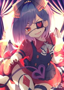 Rating: Safe Score: 20 Tags: chita_(ketchup) eyepatch skirt_lift tail thighhighs wings User: Mr_GT