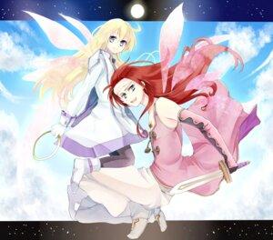 Rating: Safe Score: 5 Tags: colette_brunel kurabayashi_matoni pantyhose sword tales_of tales_of_symphonia wings zelos_wilder User: charunetra