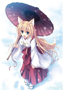 Rating: Questionable Score: 16 Tags: animal_ears kitsune miko tail tateha umbrella User: Radioactive