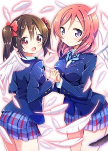 Rating: Safe Score: 44 Tags: kurou_(quadruple_zero) love_live! nishikino_maki seifuku wings yazawa_nico User: 椎名深夏