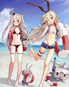 Rating: Questionable Score: 73 Tags: amatsukaze_(kancolle) bikini cleavage garter kantai_collection open_shirt rensouhou-chan rensouhou-kun shimakaze_(kancolle) swimsuits takanashie User: Mr_GT