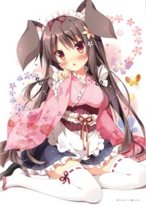 Rating: Safe Score: 116 Tags: animal_ears bunny_ears maid pan pan_no_mimi thighhighs wa_maid User: Twinsenzw