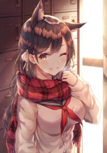 Rating: Safe Score: 58 Tags: animal_ears atago_(azur_lane) azur_lane breast_hold gyungsin seifuku sweater User: Nepcoheart