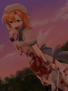 Rating: Questionable Score: 12 Tags: blood dress higurashi_no_naku_koro_ni ryuuguu_rena tagme weapon User: saemonnokami