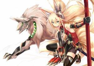 Rating: Safe Score: 78 Tags: animal_ears armor bike_shorts haik kitsune monster sword tail thighhighs weapon User: KazukiNanako