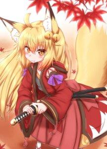 Rating: Questionable Score: 8 Tags: animal_ears horokusa kitsune sword tail User: dick_dickinson