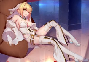 Rating: Safe Score: 56 Tags: fate/grand_order garter_belt heels langya_beike leotard no_bra saber_bride saber_extra stockings thighhighs User: Mr_GT