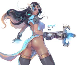 Rating: Questionable Score: 46 Tags: ass cameltoe change_(437483723) dress erect_nipples gun headphones maebari megane no_bra nopan overwatch pantsu signed symmetra_(overwatch) thighhighs User: mash