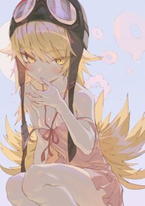 Rating: Questionable Score: 31 Tags: bakemonogatari dress hong loli monogatari_(series) no_bra oshino_shinobu skirt_lift summer_dress User: yanis