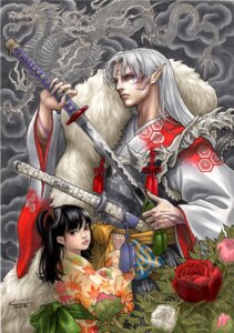 Rating: Safe Score: 11 Tags: inuyasha kimono pointy_ears rin_(inuyasha) sesshoumaru sword takumi_(marlboro) tattoo User: Radioactive