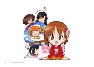 Rating: Questionable Score: 20 Tags: akiyama_yukari chibi girls_und_panzer horns isuzu_hana kimono nishizumi_miho reizei_mako takebe_saori User: drop