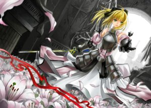 Rating: Safe Score: 16 Tags: armor cross_akiha fate/stay_night fate/unlimited_codes saber saber_lily sword User: omegakung
