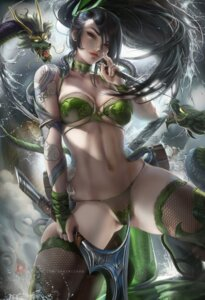 Rating: Questionable Score: 94 Tags: akali bikini fishnets league_of_legends monster sakimichan swimsuits tattoo thighhighs weapon User: BattlequeenYume