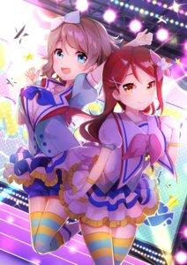 Rating: Safe Score: 20 Tags: bloomers goroo_(eneosu) love_live!_sunshine!! sakurauchi_riko skirt_lift thighhighs uniform watanabe_you User: BattlequeenYume