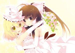 Rating: Safe Score: 37 Tags: dress hakurei_reimu kirisame_marisa touhou tsukasaki_aoi wedding_dress User: 椎名深夏