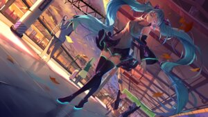 Rating: Safe Score: 62 Tags: baisi_shaonian hatsune_miku landscape thighhighs vocaloid User: RyuZU
