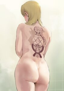 Rating: Questionable Score: 31 Tags: ass fullmetal_alchemist iku_(ikuchan_kaoru) naked riza_hawkeye tattoo wet User: Genex