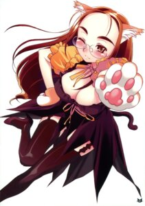 Rating: Questionable Score: 11 Tags: animal_ears cleavage maru_mikan megane nekomimi rit. thighhighs User: blooregardo
