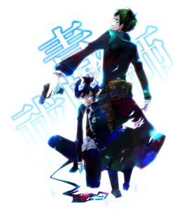 Rating: Safe Score: 4 Tags: ao_no_exorcist gun hachi_(hati88) male megane okumura_rin okumura_yukio seifuku tail User: charunetra