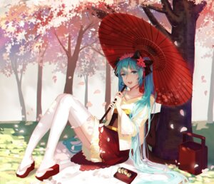 Rating: Safe Score: 45 Tags: aiko_(kanl) hatsune_miku japanese_clothes thighhighs umbrella vocaloid User: Mr_GT