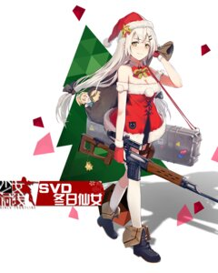 Rating: Safe Score: 45 Tags: christmas cleavage dress girls_frontline gun huanxiang_heitu svd_(girls_frontline) thighhighs User: Radioactive