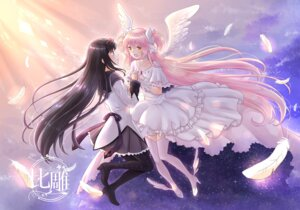 Rating: Safe Score: 14 Tags: akemi_homura dress heels lavender197 pantyhose puella_magi_madoka_magica thighhighs ultimate_madoka wings yuri User: Mr_GT