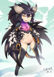 Rating: Safe Score: 36 Tags: anthropomorphization ccq horns monster_hunter monster_hunter_world nergigante pantsu tail thighhighs wings User: Mr_GT