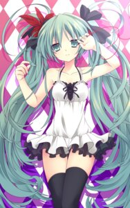 Rating: Safe Score: 70 Tags: dress etou hatsune_miku thighhighs vocaloid world_is_mine_(vocaloid) User: blooregardo