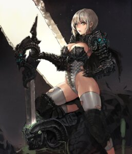Rating: Questionable Score: 114 Tags: armor blood cleavage daeho_cha horns sword thighhighs torn_clothes weapon User: SneakySpy